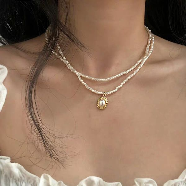 Korean fashion wild double pearl necklace clavicle chain nihaojewelry wholesale NHMD213870