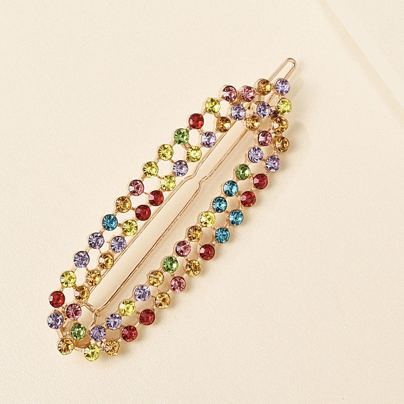 New double-row color diamond hairpin creative fashion imitation pearl cheap side clip nihaojewelry wholesale NHMD213881