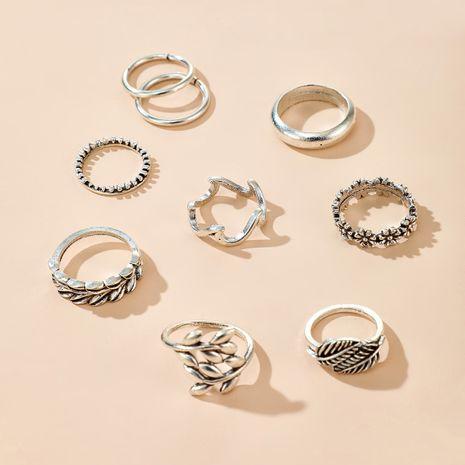 Bague de mode yiwu nihaojewelry gros rétro fleurs et feuilles anneau de pulvérisation ensemble alliage queue anneau NHGY213883's discount tags