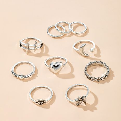 Bohemian Ring Wholesale Retro Trend Ring Set Eye Starfish Flower Moon Love Ring Set NHGY213884's discount tags