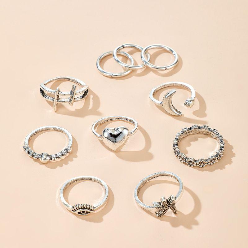 Bohemian Ring Wholesale Retro Trend Ring Set Eye Starfish Flower Moon Love Ring Set NHGY213884