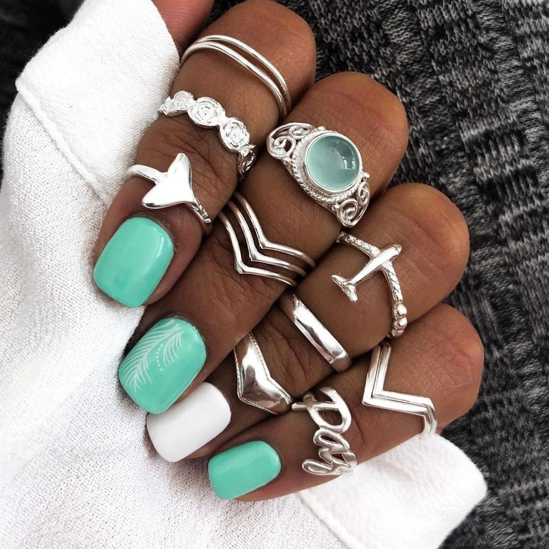 New boho ring yiwu nihaojewelry wholesale gem-set retro geometric carved letter aircraft ring set NHGY213886
