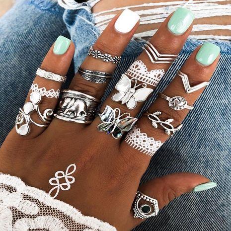 Nouveau anneau yiwu nihaojewelry gros mode populaire papillon anneau ensemble en forme de coeur feuille anneau ensemble NHGY213887's discount tags