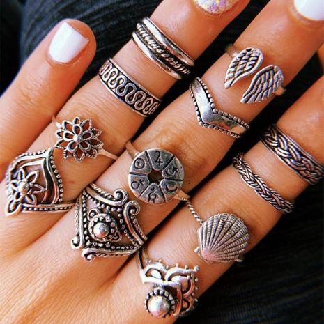 Bijoux de mode bague yiwu nihaojewelry gros rétro ailes pétoncle fleur géométrique irrégulière anneau ensemble NHGY213888's discount tags