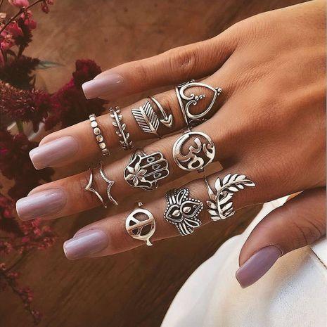 Bague de mode vintage Yiwu Nihaojewelry gros créatif évidé amour flèche feuille palmier bague ensemble NHGY213890's discount tags