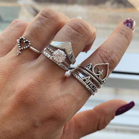 Bohème créatif diamant joint bague ensemble yiwu nihaojewelry gros rétro creux creux lettre amour bague ensemble NHGY213892's discount tags