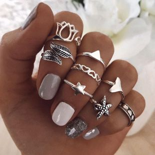 New fashion wisp lotus starfish ring set yiwu nihaojewelry wholesale love star fishtail ring set NHGY213893's discount tags