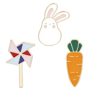 Creative cartoon cute bunny windmill carrot brooch cowboy badge accessories nihaojewelry wholesale NHMO213901's discount tags