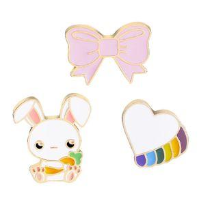 New fashion cute cartoon bunny bow love brooch wholesale nihaojewelry NHMO213903's discount tags