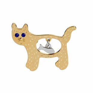 New fashion cat small fish brooch cartoon cute funny cat fishing brooch nihaojewelry wholesale NHMO213912's discount tags