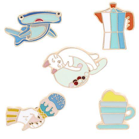 New fashion creative wild shark kettle tea cup fun cat brooch nihaojewelry wholesale NHMO213915's discount tags