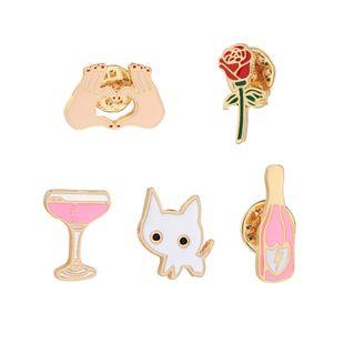 New fashion cartoon set brooch wine bottle cup cat rose flower heart shaped brooch nihaojewelry wholesale NHMO213916's discount tags
