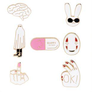 Simple pink white happy smiley pill sunglasses sunglasses rabbit brain fun creative brooch nihaojewelry wholesale NHMO213920's discount tags