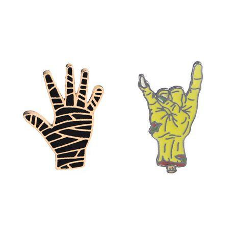 New fashion punk gesture palm creative denim jacket apparel badge brooch nihaojewelry wholesale NHMO213923's discount tags
