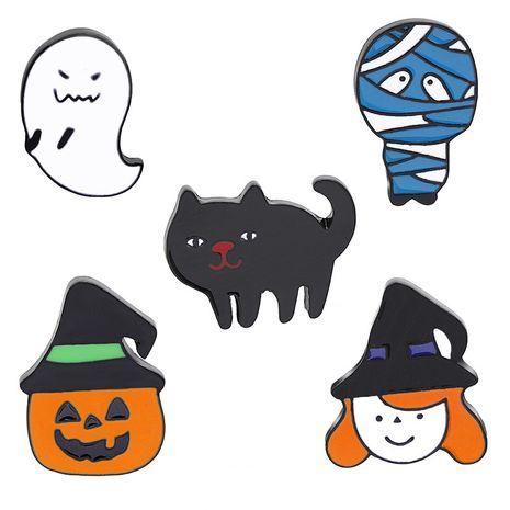 New simple Halloween creative cartoon fun mummy witch pumpkin head cat brooch wholesale nihaojewelry NHMO213924's discount tags