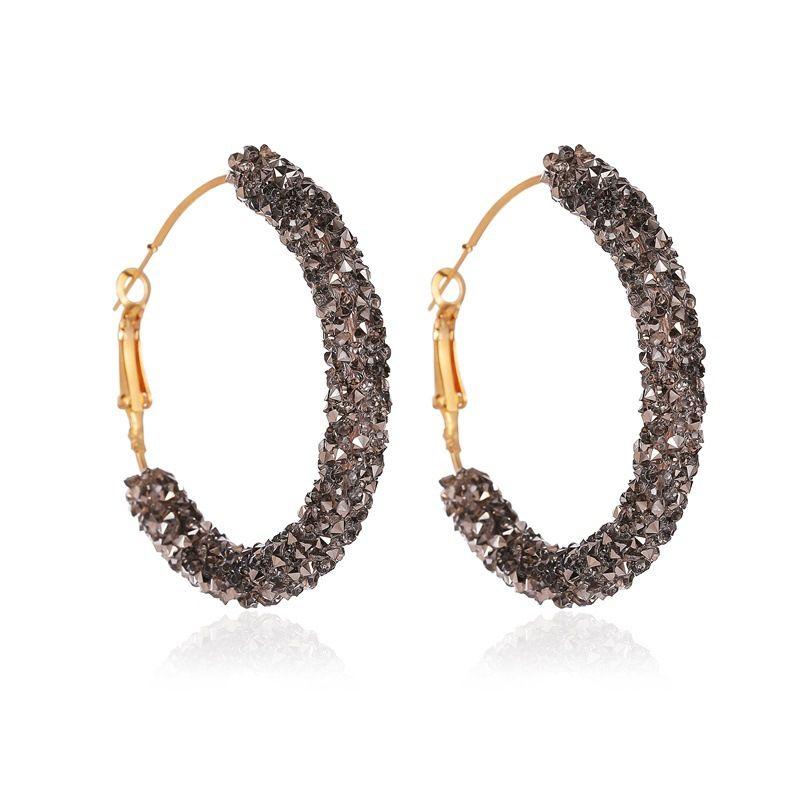 New retro exaggerated crystal C-shaped earrings simple half circle earrings nihaojewelry wholesale NHMO213928
