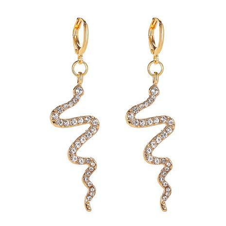 Nouvelle mode simple vague boucles d'oreilles serpentine boucles d'oreilles vent froid longue section diamant boucles d'oreilles en gros nihaojewelry NHMO213932's discount tags