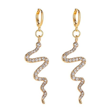 New fashion simple wave earrings serpentine earrings cold wind long section diamond earrings wholesale nihaojewelry NHMO213932's discount tags