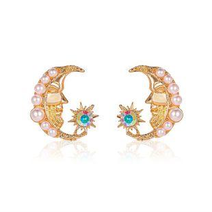 New baroque pearl sun earrings sweet simple moon earrings nihaojewelry wholesale NHMO213934's discount tags