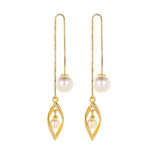 New tassel earrings simple fashion twisted ear line wild long pearl earrings NHMO213935's discount tags