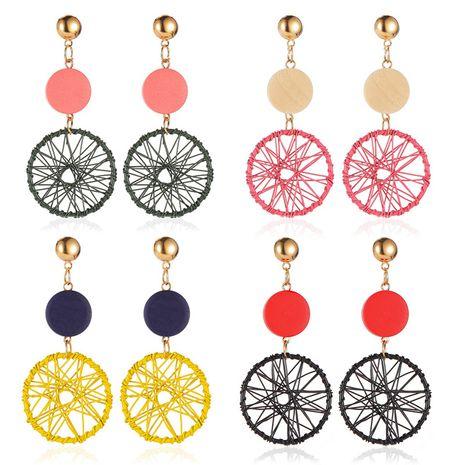 The new long geometric hollow earrings wooden dream catcher earrings nihaojewelry wholesale NHMO213937's discount tags