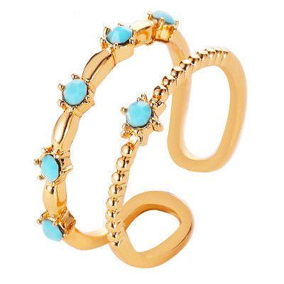 Nouvelle bague double couche yiwu nihaojewelry gros diamant simple ouverture diamant ouverture réglable anneau en cuivre en forme de U NHMO213952's discount tags