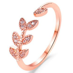 New hand jewelry open ring wholesale student index finger joint ring simple tree leaf zircon single ring NHMO213958's discount tags