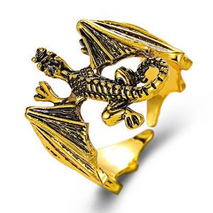 New creative domineering men's open copper ring wholesale Halloween jewelry hand ornaments Gothic retro pterosaur ring NHMO213959's discount tags