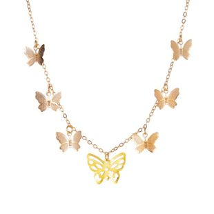 New fashion simple hollow 7 butterfly necklace multi-layer pendant clavicle chain nihaojewelry wholesale NHMO213983's discount tags