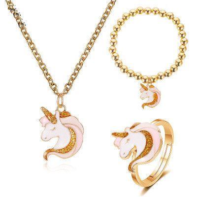 Nouveau dessin animé de mode mignon licorne collier bracelet anneau en gros NHMO213984's discount tags