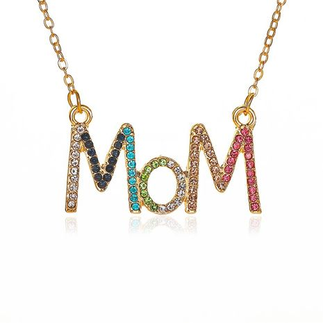 New simple color diamond clavicle chain mother's day gift creative diamond MOM alphabet necklace nihaojewelry wholesale NHMO213987's discount tags