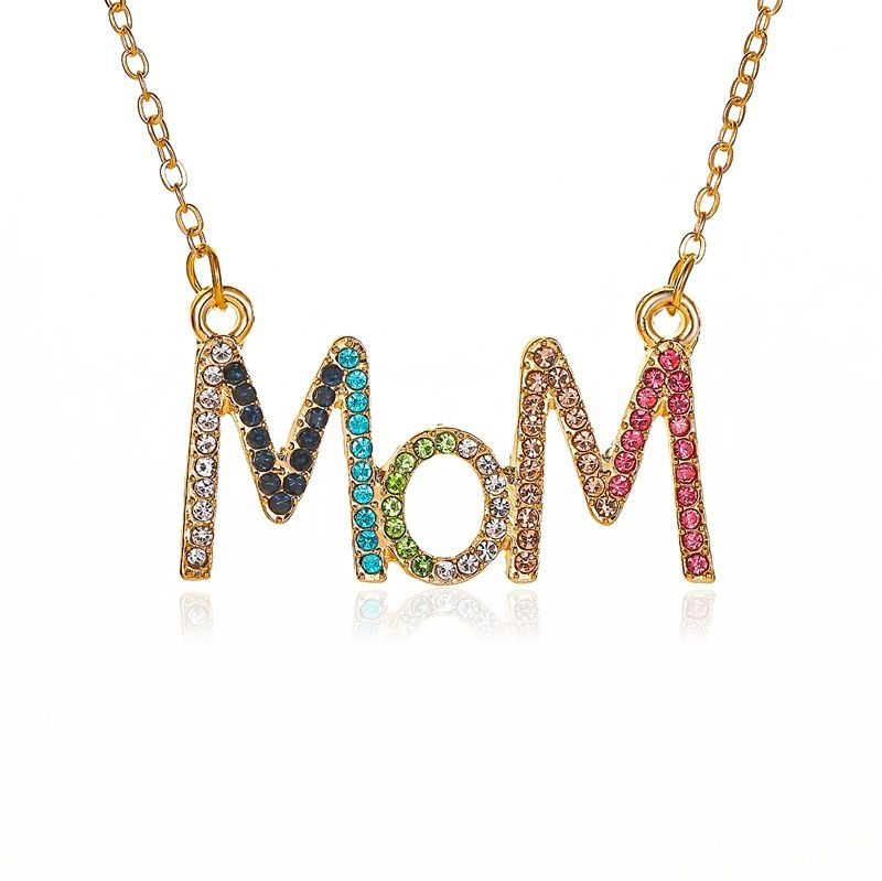 New simple color diamond clavicle chain mother39s day gift creative diamond MOM alphabet necklace nihaojewelry wholesale NHMO213987