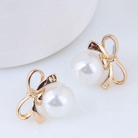 Korean new fashion alloy sweet OL bowknot pearl earrings nihaojewelry wholesale NHSC214055's discount tags
