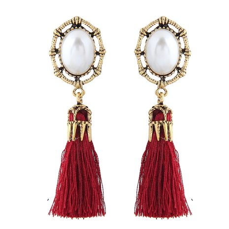 New fashion alloy simple pearl tassel earrings nihaojewelry wholesale NHSC214052's discount tags