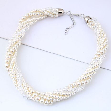New fashion simple wild crystal pearl short necklace nihaojewelry wholesale NHSC214044's discount tags