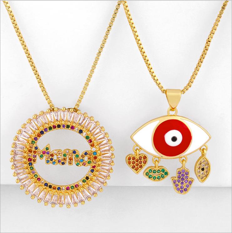 Fashion temperament wild inlaid color diamond mom drop oil eye necklace NHAS177642