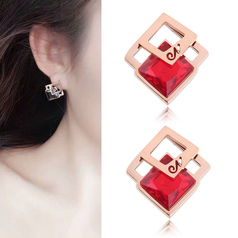 Simple three-dimensional cube Rubik's cube zircon titanium steel earrings nihaojewelry wholesale NHSC214456