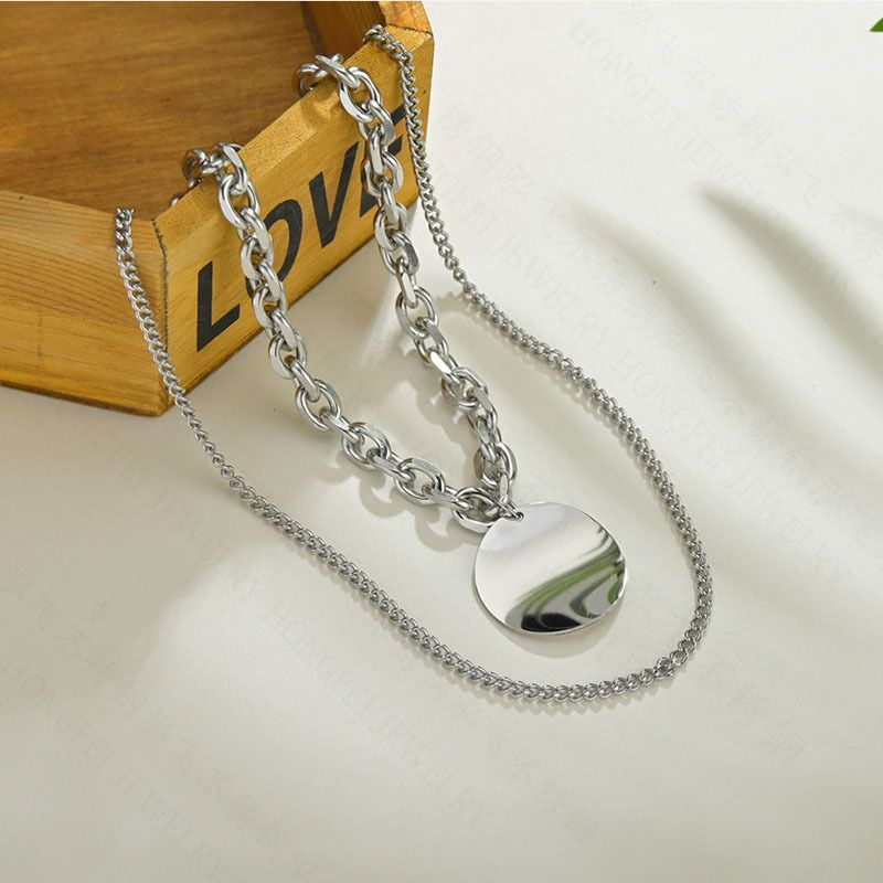 New fashion simple hip-hop thick chain smooth round brand necklace titanium steel double round necklace NHHF213715