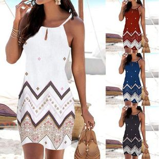 Summer new fashion bohemian suspenders Slim sleeveless A-line skirt nihaojewelry wholesale NHYF214030's discount tags