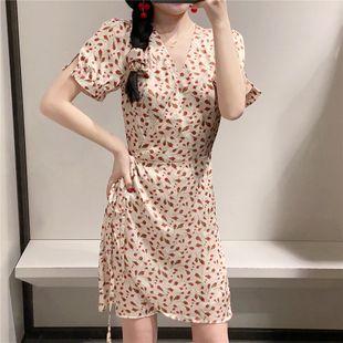 Summer fashion V-neck French retro flowers vacation wrap body waist slim dress nihaojewelry wholesale NHAM214142's discount tags