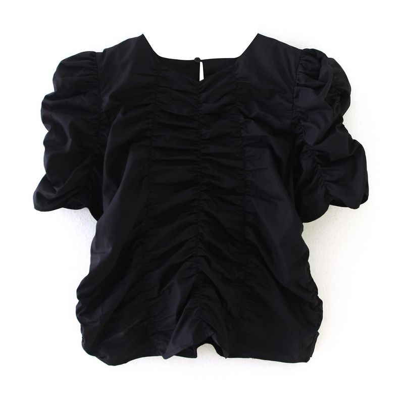 Summer new loose H-shaped cotton pleated round neck short sleeve T-shirt nihaojewelry wholesale NHAM214151