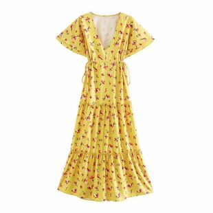 Summer new yellow women's V-neck print knot ornament waist mid-length dress nihaojewelry wholesale NHAM214153's discount tags