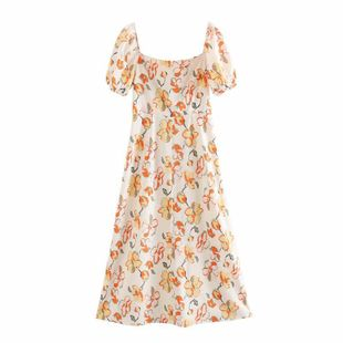 Summer new slim split skirt skirt square collar short-sleeved printed dress nihaojewelry wholesale NHAM214154's discount tags