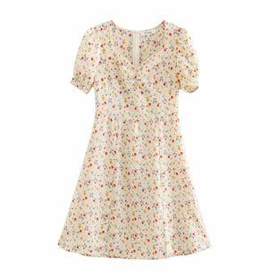 nihaojewelry wholesale spring French bellflower watermark floral short-sleeved dress NHAM214158's discount tags
