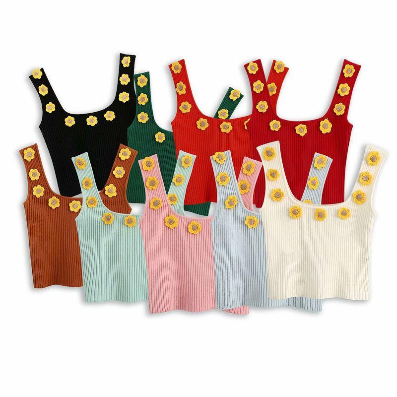 Spring new handmade hook flower small daisy knitted women's camisole wholesale nihaojewelry NHAM214160