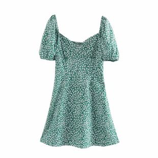 Summer new floral puff sleeve square collar green dress nihaojewelry wholesale NHAM214164's discount tags