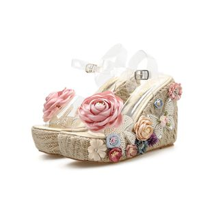 Summer fashion wedge heel handmade flower bow pearl thick bottom sandals nihaojewelry wholesale NHEH214165's discount tags