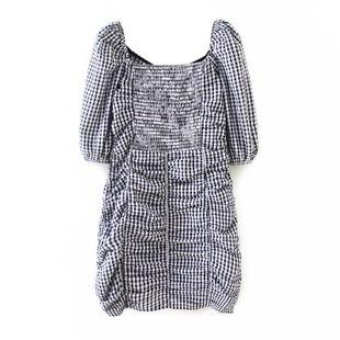 Summer new women's bubble short sleeve plaid pleated halter dress nihaojewelry wholesale NHAM214166's discount tags