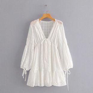 Summer new deep V-neck lantern sleeve bandage waist white simple dress nihaojewelry wholesale NHAM214168's discount tags