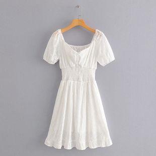 Summer new slim elastic waist word shoulder embroidery bubble sleeve dress nihaojewelry wholesale NHAM214170's discount tags